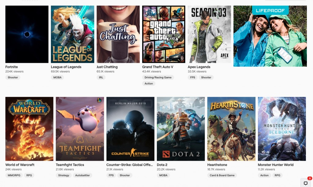 Fortnite is the #1 game on Twitch on Oct 14th 2019